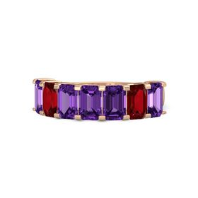 Emerald Amethyst 14K Rose Gold Ring with Amethyst and Ruby