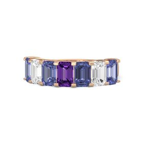 Emerald-Cut Amethyst 14K Rose Gold Ring with Tanzanite & White Sapphire