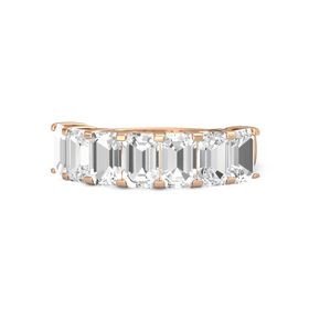 Emerald-Cut Rock Crystal 14K Rose Gold Ring with Rock Crystal & White Sapphire