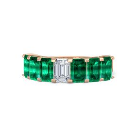 Emerald Diamond 14K Rose Gold Ring with Emerald