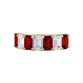 Emerald Diamond 14K Rose Gold Ring with Ruby and White Sapphire