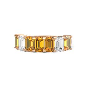 Emerald-Cut Citrine 14K Rose Gold Ring with Citrine & White Sapphire