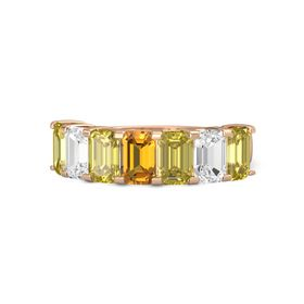 Emerald-Cut Citrine 14K Rose Gold Ring with Yellow Sapphire & White Sapphire