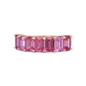 Emerald Pink Tourmaline 14K Rose Gold Ring with Pink Tourmaline and Pink Sapphire