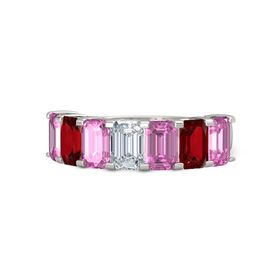 Emerald Diamond 14K White Gold Ring with Pink Sapphire and Ruby