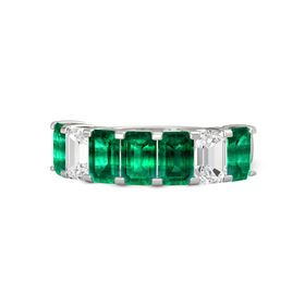 Emerald-Cut Emerald 14K White Gold Ring with Emerald & White Sapphire