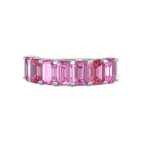 Emerald-Cut Pink Sapphire 14K White Gold Ring with Pink Sapphire & Pink Tourmaline