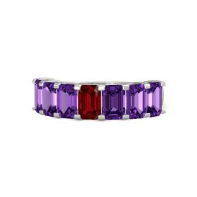 Emerald Ruby 14K White Gold Ring with Amethyst
