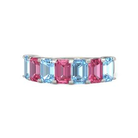 Emerald Pink Tourmaline 14K White Gold Ring with Blue Topaz and Pink Tourmaline