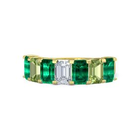 Emerald Diamond 14K Yellow Gold Ring with Emerald and Peridot