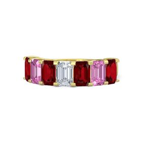 Emerald Diamond 14K Yellow Gold Ring with Ruby and Pink Sapphire