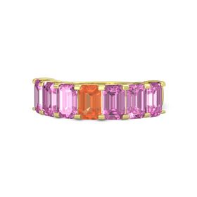 Emerald-Cut Fire Opal 14K Yellow Gold Ring with Pink Sapphire