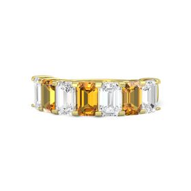 Emerald Citrine 14K Yellow Gold Ring with White Sapphire and Citrine