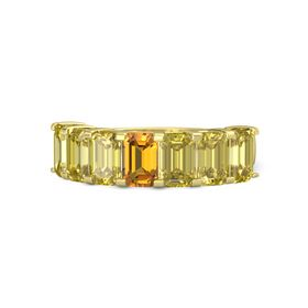 Emerald Citrine 14K Yellow Gold Ring with Yellow Sapphire