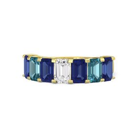Emerald-Cut White Sapphire 14K Yellow Gold Ring with Sapphire & London Blue Topaz