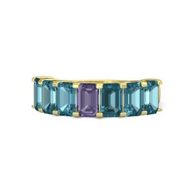 Emerald-Cut Iolite 14K Yellow Gold Ring with London Blue Topaz