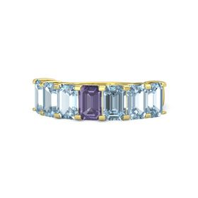 Emerald Iolite 14K Yellow Gold Ring with Aquamarine