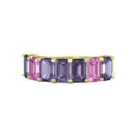 Emerald Iolite 14K Yellow Gold Ring with Iolite and Pink Sapphire