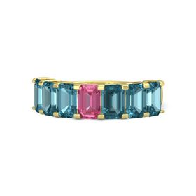 Emerald-Cut Pink Tourmaline 14K Yellow Gold Ring with London Blue Topaz