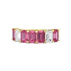 Emerald Pink Tourmaline 14K Yellow Gold Ring with Pink Tourmaline and White Sapphire