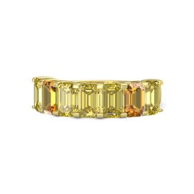 Emerald Yellow Sapphire 14K Yellow Gold Ring with Yellow Sapphire and Citrine