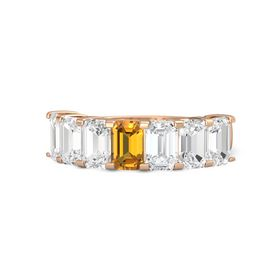 Emerald Citrine 18K Rose Gold Ring with White Sapphire