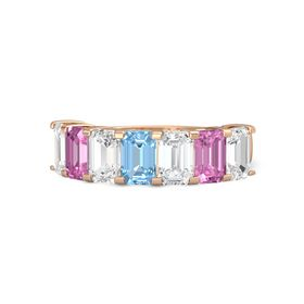 Emerald Blue Topaz 18K Rose Gold Ring with White Sapphire and Pink Sapphire