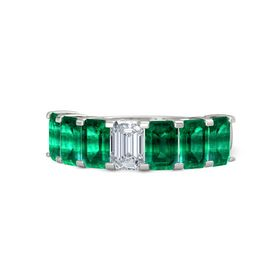 Emerald Diamond 18K White Gold Ring with Emerald
