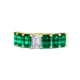 Emerald Diamond 18K Yellow Gold Ring with Emerald