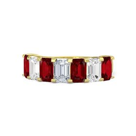 Emerald Diamond 18K Yellow Gold Ring with Ruby and White Sapphire