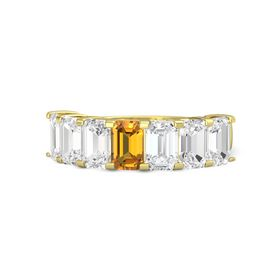 Emerald Citrine 18K Yellow Gold Ring with White Sapphire