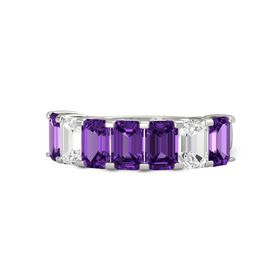 Emerald Amethyst Palladium Ring with Amethyst and White Sapphire