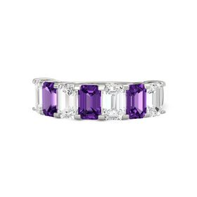 Emerald Amethyst Palladium Ring with White Sapphire and Amethyst