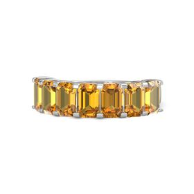 Emerald Citrine Palladium Ring with Citrine