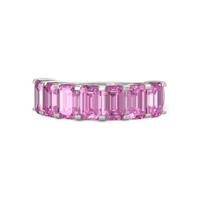 Emerald Pink Sapphire Palladium Ring with Pink Sapphire