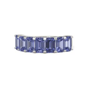 Emerald Tanzanite Palladium Ring with Tanzanite