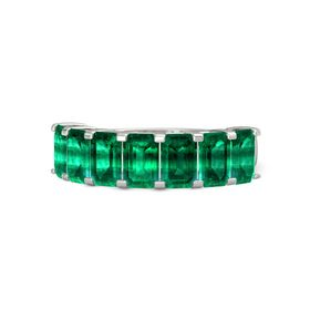 Emerald-Cut Emerald Platinum Ring with Emerald