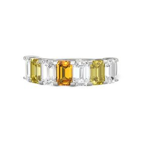Emerald-Cut Citrine Platinum Ring with White Sapphire & Yellow Sapphire