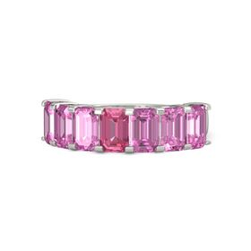 Emerald Pink Tourmaline Platinum Ring with Pink Sapphire