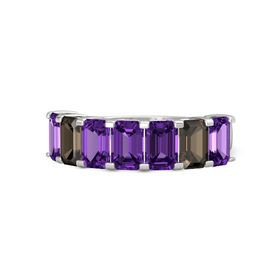 Emerald-Cut Amethyst Sterling Silver Ring with Amethyst & Smoky Quartz