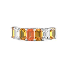Emerald Fire Opal Sterling Silver Ring with Citrine and White Sapphire