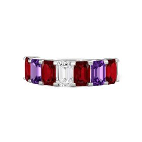 Emerald White Sapphire Sterling Silver Ring with Ruby and Amethyst