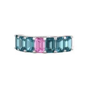 Emerald Pink Sapphire Sterling Silver Ring with London Blue Topaz