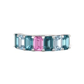 Emerald Pink Sapphire Sterling Silver Ring with London Blue Topaz and Aquamarine