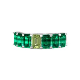 Emerald Peridot Sterling Silver Ring with Emerald