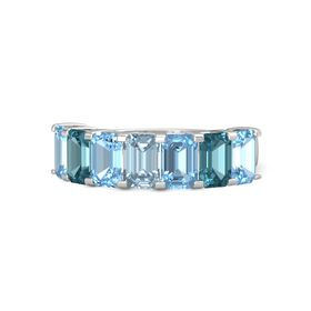 Emerald Aquamarine Sterling Silver Ring with Blue Topaz and London Blue Topaz