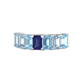 Emerald Blue Sapphire Sterling Silver Ring with Blue Topaz and Aquamarine