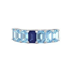 Emerald Blue Sapphire Sterling Silver Ring with Blue Topaz