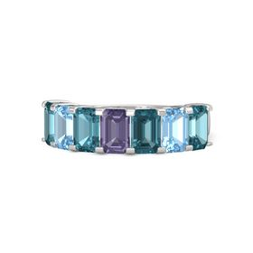Emerald Iolite Sterling Silver Ring with London Blue Topaz and Blue Topaz