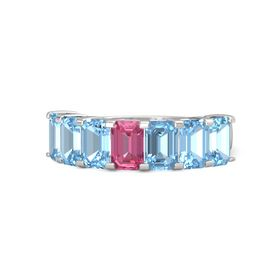 Emerald Pink Tourmaline Sterling Silver Ring with Blue Topaz